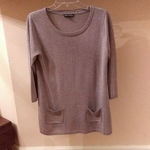 Cable and Gauge Silver Metallic Sweater